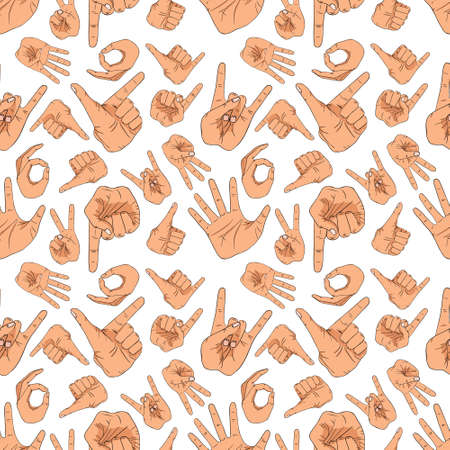 Hand gestures pattern on white background Stock Illustratie