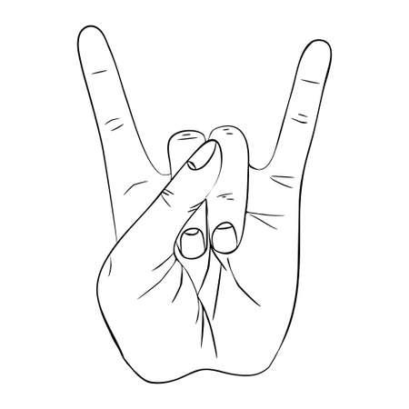 Hand gesture with transparent rock sign Illustration