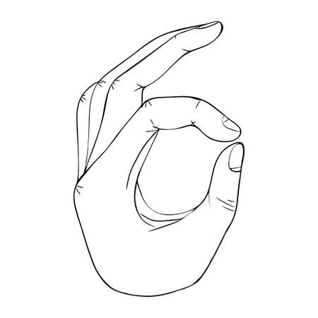 Hand gesture with transparent Ok sign Stock Illustratie
