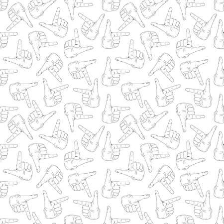 Hand gesture pattern on white background