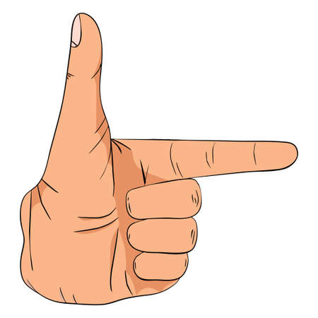 Hand gesture with forefinger sign