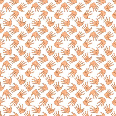 Hand gestures pattern on white background Illustration
