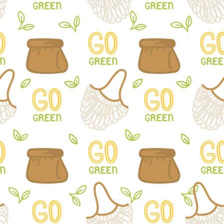 Go green pattern on white background Illustration