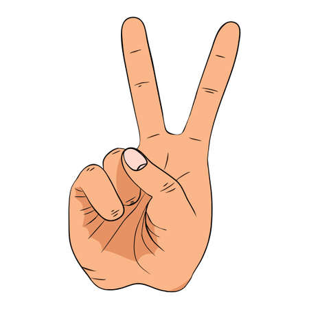 Hand gesture with peace sign 向量圖像