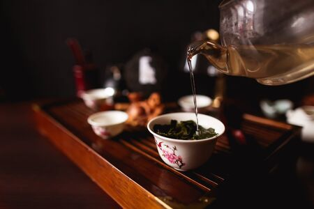 The Traditional Chinese tea ceremony. Soft selective focus.