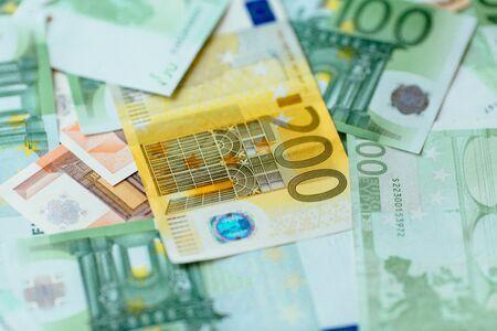 Euro currency. Euro cash closeup. Euro bancnotes background.