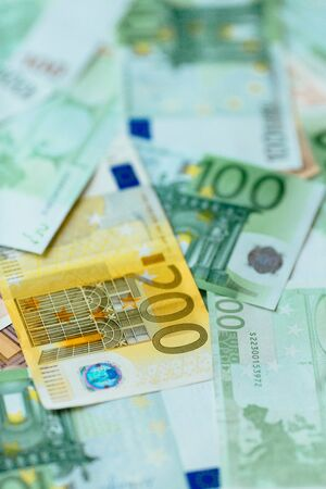 Euro currency background. Many banknotes of Euro Banco de Imagens