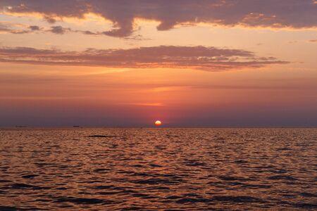 Beautiful evening sea sunrise at summer.