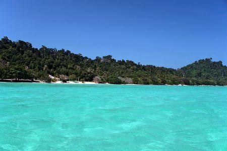 Off the main beach in Ko Kradan, an island in the Andaman sea, Thailand