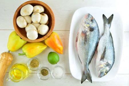 Grilled Sea Bream with Mushrooms and Peppers - a set of photos showing an entire recipe preparation with ingredients, instructions, and photos of the final dish