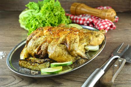 Grilled Chicken with Chayote - recipe preparation photos Foto de archivo - 123737931