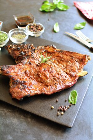 Sweet Porterhouse Steak with Herbs - a set of photos showing an entire recipe preparation, ingredients, and photos of the final dish