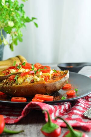 Grilled Sweet Potatoes Stuffed with Peppers and Cheese - a set of photos showing and entire recipe preparation with ingredients, instructions and photos of the final dish Banco de Imagens