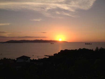 gaya: Sunset at Gaya Island Sabah Malaysian Borneo Stock Photo