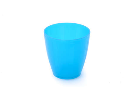 throwaway: Blue plastic cup isolated on white
