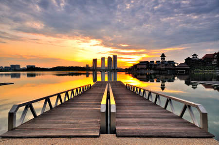 Double jetty during sunrise at Putrajaya Stock Photo