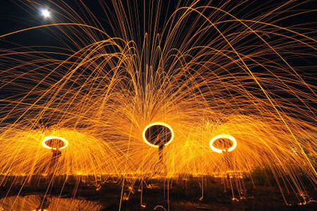 The spinning of steelwool Stock Photo - 27337288