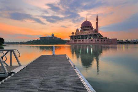 Putra Mosque in Putrajaya, Malaysia at dusk Stock Photo - 30584916