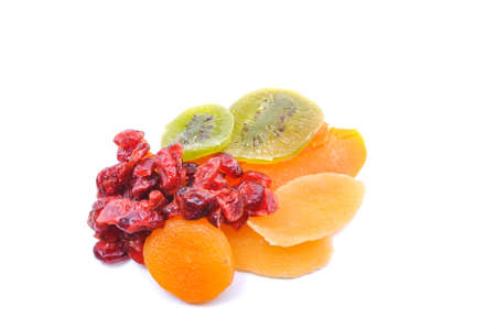 dried fruits on white background photo