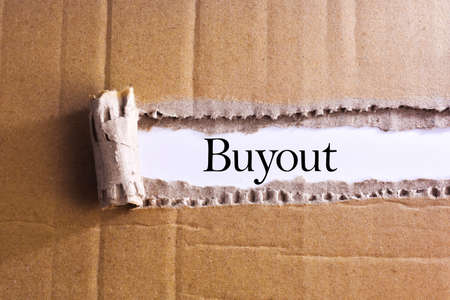 overthrow: Torn paper box with word Buyout Stock Photo