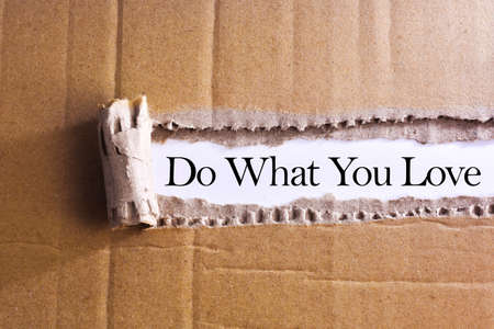 Torn paper box with word Do what you love