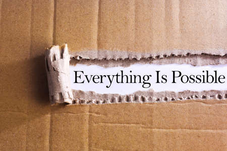 probable: Torn paper box with word Everything is possible Stock Photo