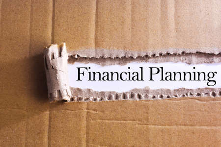 formulation: Torn paper box with word Financial planning Stock Photo
