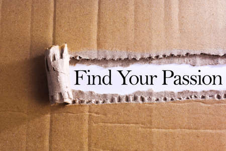 Torn paper box with word Find Your Passion Foto de archivo