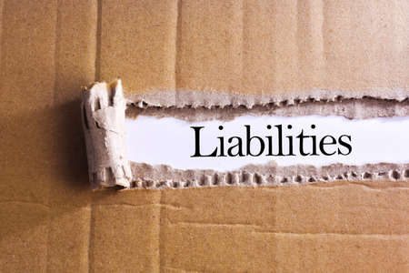 liabilities: Torn paper box with word Liabilities Stock Photo