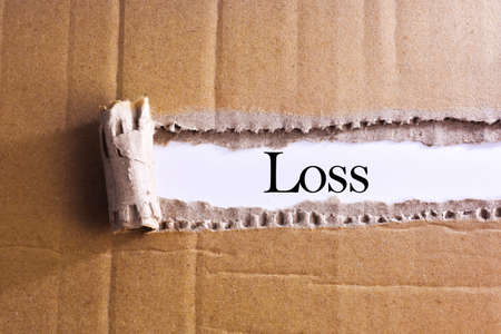 dues: Torn paper box with word Loss