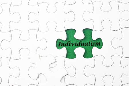 individualism: Individualism word at missing puzzle
