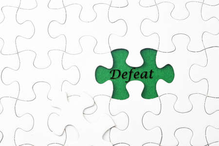 defeat: Defeat word at missing puzzle