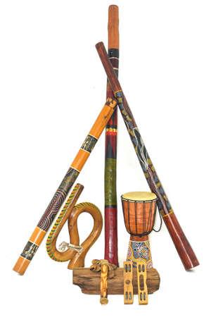 aborigines: Australian traditional ethnic musical instrumens Stock Photo
