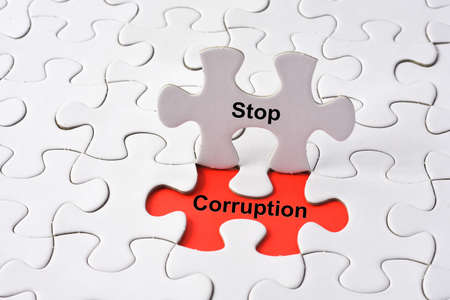 Stop Corruptionconcept on missing puzzle