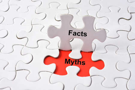 uprightness: Facts and Myths on missing puzzle Stock Photo
