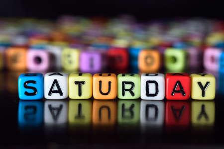 Saturday on colorful dice Archivio Fotografico