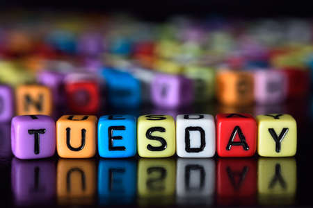 tuesday: Tuesday on colorful dice Stock Photo