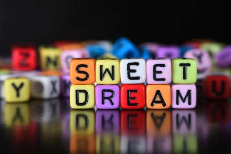 sleepover: Sweet Dream on dice Stock Photo
