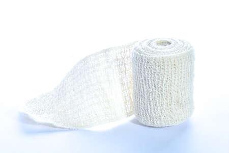 分離された医療包帯ロール 写真素材
