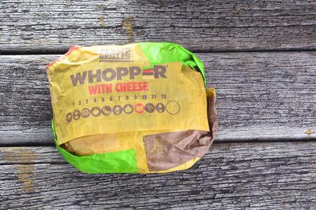 headquartered: KUALA LUMPUR, MALAYSIA - JUNE 19 , 2016 : Burger King WHOPPER. Burger King is a global chain of hamburger fast food restaurants headquartered in United States.