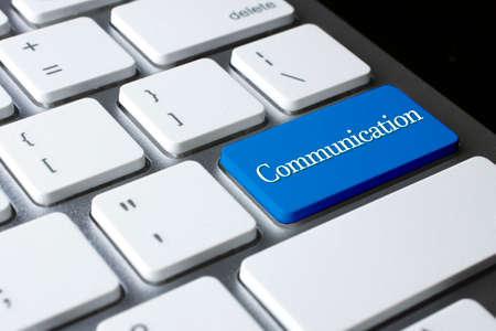 cabel: Communication on white keyboard Stock Photo