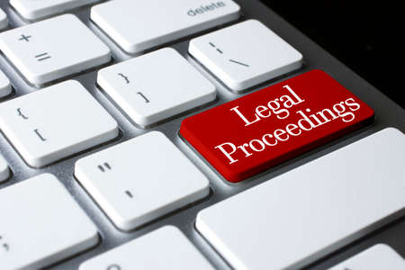 proceedings: Law concept: Legal Proceedings on white keyboard Stock Photo