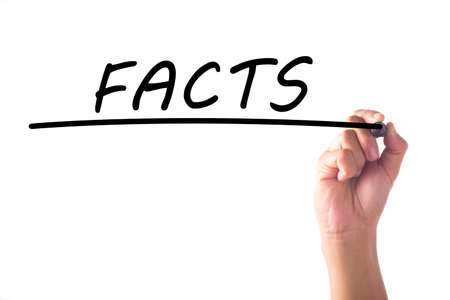 misleading: Hand writing FACTS word on transparent board Stock Photo