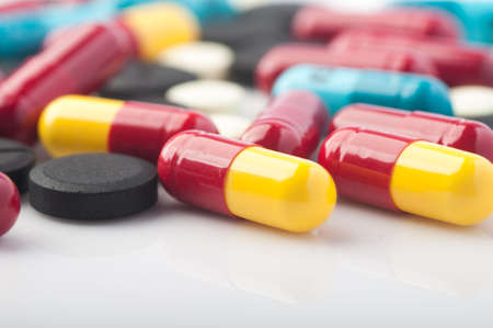 Colorful medication and pills Stock Photo