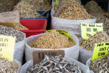 Perak, Malaysia - 14 JANUARY 2017 : Various type of dried anchovy for sale at local store in Lumut. Editorial
