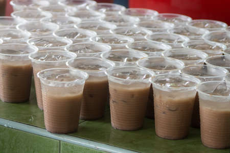 iced chocolate drink in the plastic cup