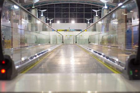 Blur image of airport link at airport terminal