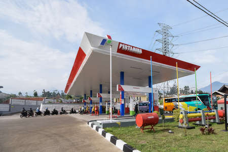 Bandung, Indonesia - October 20, 2018: Indonesian Pertamina Gas Station. PERTAMINA is based in Jakarta and the worlds largest producer and exporter of Liquefied Natural Gas (LNG) Editorial