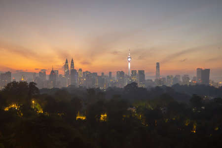 view of beautiful sunrise overlooking national landmark of Malaysia