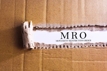 Torn paper box with word MOVEMENT RESTRICTION ORDER Archivio Fotografico
